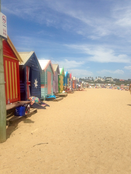 Colourful beach huts on the beach at Brighton, Melbourne