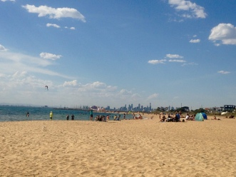 View of Melbourne CBD from Brighton Beach on a sunny summer day, Victoria