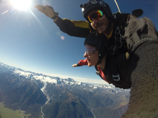 Tandem skydive in New Zealand with views of Fox Glaicer on a bright sunny morning
