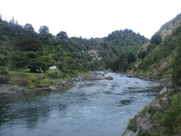 The Rangitikei River view from the trolley bridge in River Valley on an overcoast and rainy day
