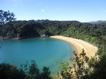 Coastal track walks from Anchorage in Abel Tasman National Park on the South Island of New Zealand.