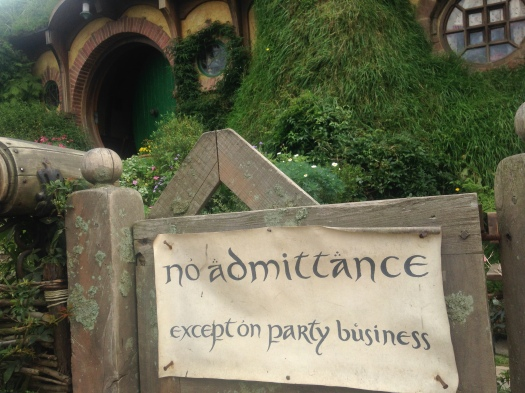 "The ""no admittance"" sign outside Frodo and Bilbo Baggins' home in the Hobbiton Movie Set, Matamata NZ"