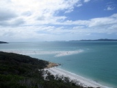 Views of Whitehaven Beach from the viewpoint along the walk from the bay to the stunning white sands in the Whitsundays, Australia