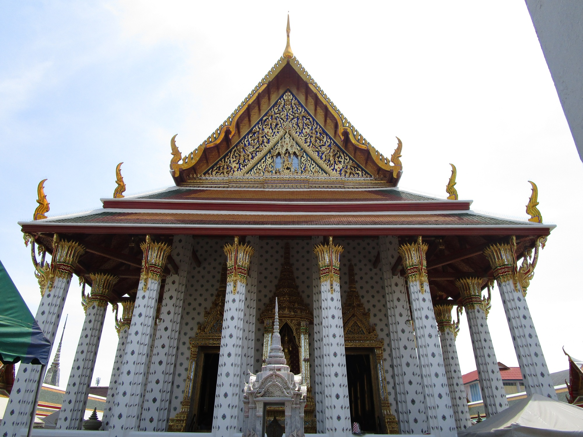 Temple front with beautiful details and carefully designed pillars and roof