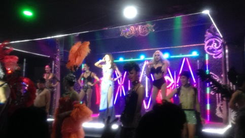 The performers of the Chiang Mai cabaret show in full outfits