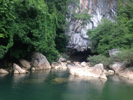 Riverboat entrance to a cave