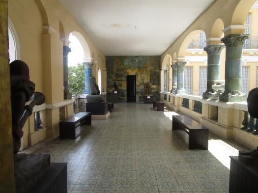 Exposed hallway of a Vietnamese art gallery