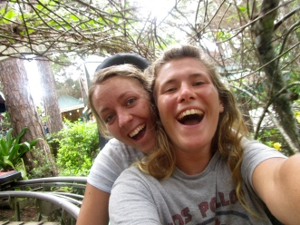 Friends smile as they ride down the rollercoaster in Da Lat