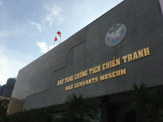 The cold and stark exterior of the War Remnant Museum, Vietnam