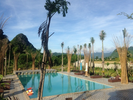 Relaxing by the pool with stunning mountainous views beyond