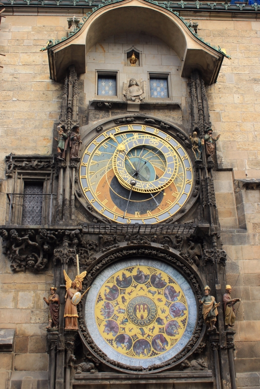 Prague's Old Town Hall tower with the full view of the Astronomical Clock under renovation