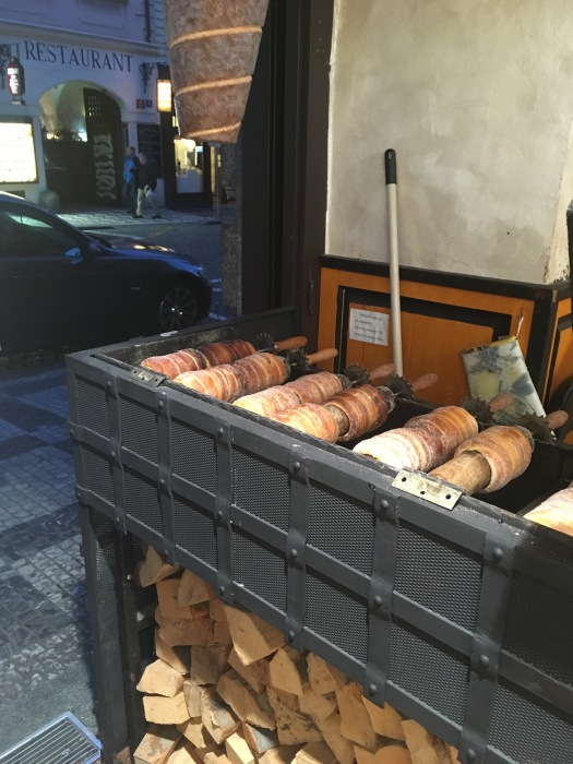 The delicious Trdelník cooking in one of the many shops