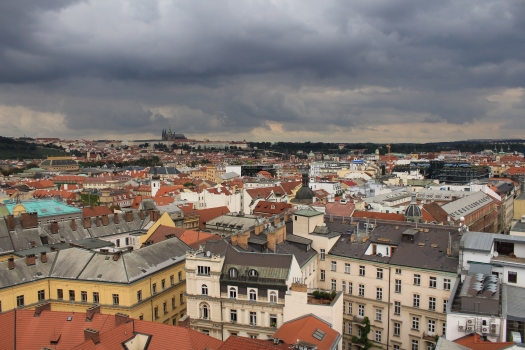 View across the city from Prague's New Town Hall Tower
