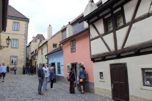 The quaint Golden Lane inside Prague Castle complex
