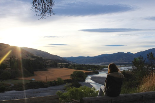 Looking over the braided rivers at Hanmer Springs at sunset