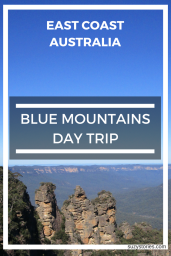 Text overlay the Three Sisters rocks at the Blue Mountains in Australia