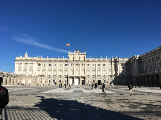 The royal palace in Madrid in the sunshine